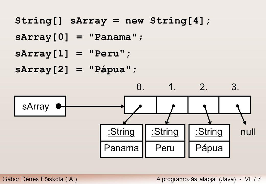 String[] sArray = new String[4]; sArray[0] = Panama ;